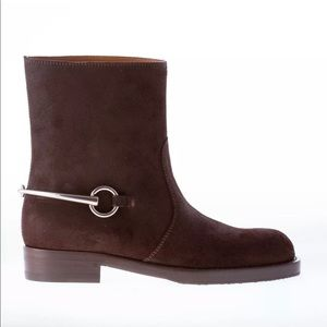 Gucci Brown Horsebit Suede Boots